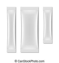sachet, embalagem, branca, em branco