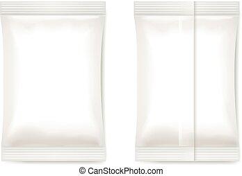 sachet, embalagem, folha, vetorial, em branco, branca