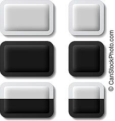 sachet, empaquetado, blanco, vector, negro