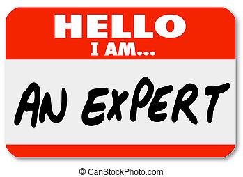 sachkenntnis, etikett, nametag, hallo, experte