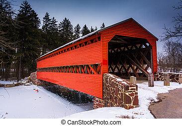sach's, ponte coperto, durante, il, inverno, appresso, gettysburg, pennsylvania.