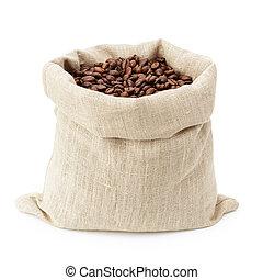 sack bag full of roated coffee beans