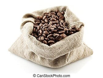 Sack full of coffee beans on white