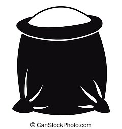 Sack full of flour icon. Simple illustration of sack full of flour vector icon for web