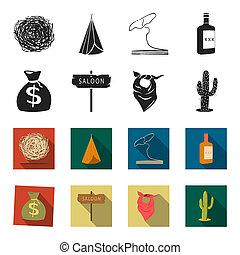 sack gelds, salon, cowboy, halstuch, cactus., wilder westen, satz, sammlung, heiligenbilder, in, schwarz, stil, bitmap, symbol, haben abbildung lager, web.