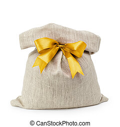 sack gift bag with ribbon bow