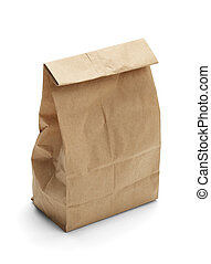 Sack Lunch - Brown Paper Bag Lunch with Copy Space Isolated...