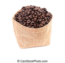 Sack of coffee beans on white background
