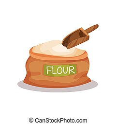 Sack of flour and wooden scoop vector Illustration on a white background