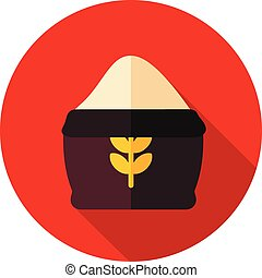 Sack of flour flat icon with long shadow
