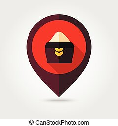 Sack of flour flat mapping pin icon