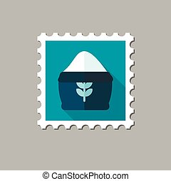 Sack of flour flat stamp with long shadow