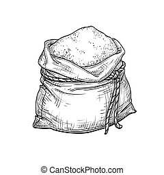 Sack of flour. Hand drawn vector illustration. Isolated on white background. Vintage style.