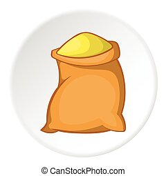 Sack of flour icon, cartoon style