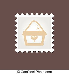 Sack of flour stamp. Outline vector illustration
