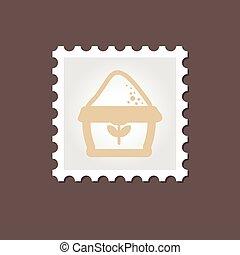Sack of flour stamp. Outline vector illustration