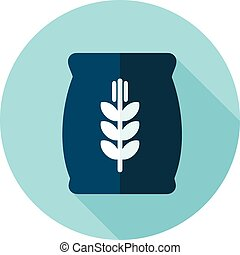 Sack of grain flat icon with long shadow, eps 10