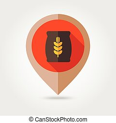Sack of grain flat mapping pin icon