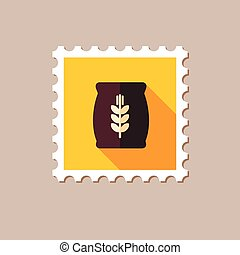 Sack of grain flat stamp with long shadow