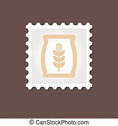 Sack of grain stamp. Outline vector illustration