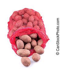 Sack of potatoes isolated on white background.