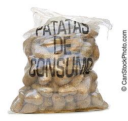 sack of potatoes on white background