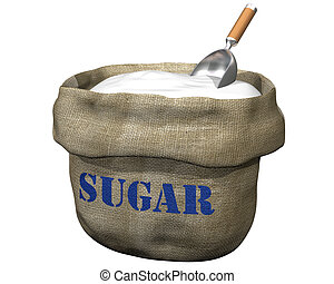 Sack of sugar - Isolated illustration of an open sack ...