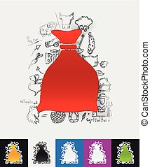 sack paper sticker with hand drawn elements