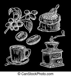 Sack with coffee beans with wooden scoop and beans, cup, branch with leaf and berry. Hand drawn sketch style. Vintage vector engraving illustration for label, web.  Isolated on black background