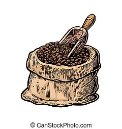 Sack with coffee beans with wooden scoop.