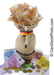 sack with euro currency