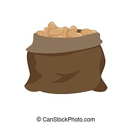 Sack with Potato Isolated Cartoon Vector Icon - Sack full of...