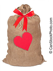 Sack with red heart