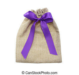 Sack with red ribbon and bow