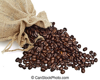 sack from linnen with spilled coffee grain
