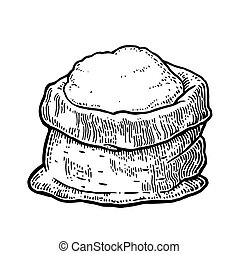 Sack with whole flour. Hand drawn sketch style. Vintage black vector engraving illustration for label, web, flayer bakery shop.  Isolated on white background