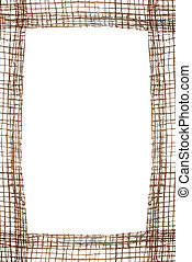 Sackcloth frame isolated on white background.