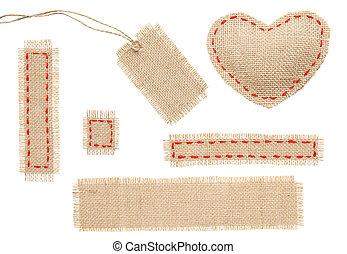 Sackcloth Heart Shape Patch Tag Label Object with Stitches...