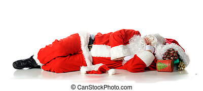 Sacked Out! - Santa Claus sacked out on his bag of gifts. ...