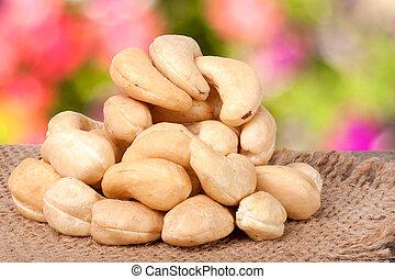 sacking, jardin, bois, noix cajou, brouillé, tas, fond, table
