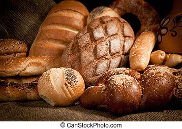 sacking, sortiment, bage brød