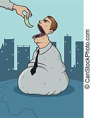 Sackman devouring money. Corrupt official caricature. Huge ...