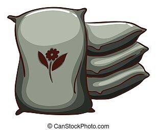 Sacks - Flashcard of four farm sacks