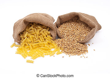 Sacks of wheat grains and pasta