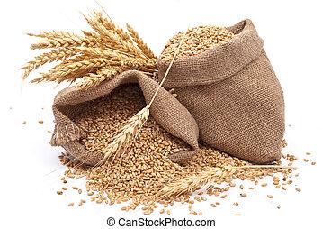 Sacks of wheat grains