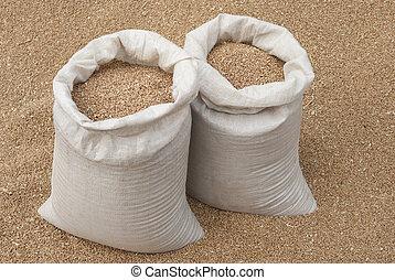 Sacks of wheat.