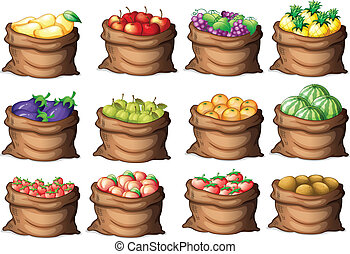Illustration of the sacks with different fruits on a white background