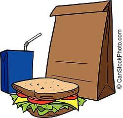 saco, almoço, marrom