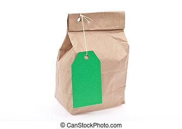 saco, aprece etiqueta, verde, almoço
