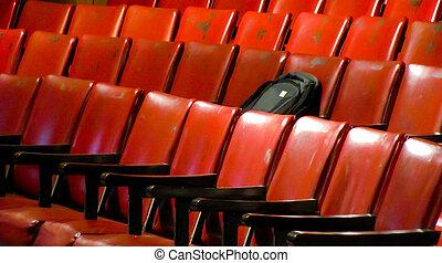 saco, auditório, pretas, mentindo, assento